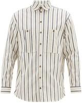King & Tuckfield - Jacquard-stripe Cotton-canvas Shirt - Mens - White Multi