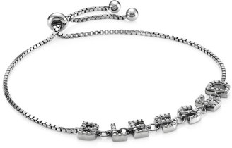 Nina Gilin Black Rhodium-Plated Silver & Diamond Blessed Slider Bracelet