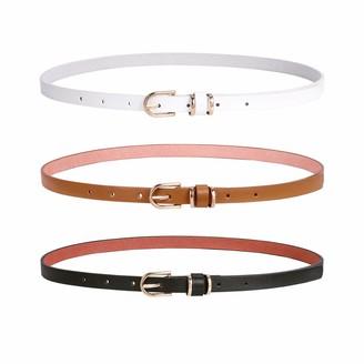 WERFORU Thin Belt Womens PU Leather Skinny Slim Waist Belt Fashion Elegant Thin Belts with Golden Pin Buckle Belt for Dress Jeans Pants 3 Pack