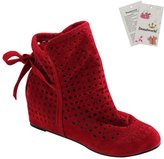Donalworld Lady Casual Hollow Out Hidden Wedge Ankle Boot