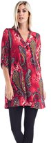 Allora Betsy Red Couture Women And Plus Size Notch Neck Tunic Top