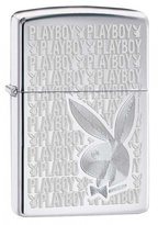 Zippo Playboy High Polish Chrome Outdoor Indoor Windproof Lighter Free Custom Personalized Engraved Message Permanent Lifetime Engraving on Backside