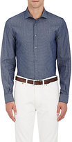 Boglioli Men's Lattice-Stitched Shirt-NAVY