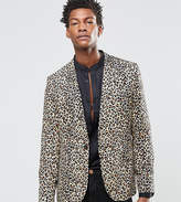 Religion Skinny Suit Jacket In Leopard Print Rayon