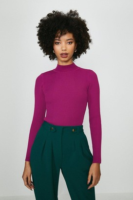 Coast Knit Rib Long Sleeve Funnel Neck Top
