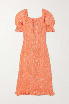 Faithfull The Brand Net Sustain Fae Shirred Floral-print Crepe Dress - Peach