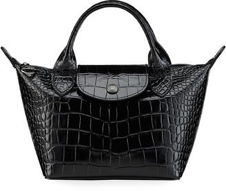 Longchamp Le Pliage Cuir Croco Small Tote Bag
