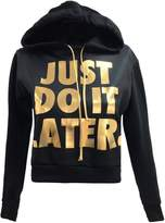 Forever Womens Long Sleeves Just Do It Later Print Fleece Hoodie Crop Top (ML = 10-12, )