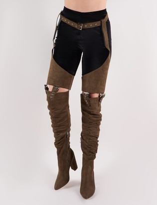 Public Desire Sterling Belted Over the Knee Boots in Khaki Faux Suede