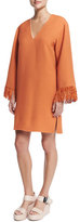 Derek Lam V-Neck Kimono Dress W/Fringe, Orange