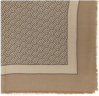 Burberry Tan Cashmere Monogram Scarf