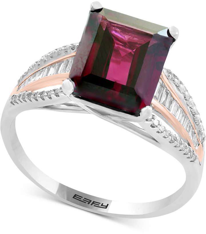 Effy Bordeaux by Garnet (3-3/8 ct. t.w.) & Diamond (1/4 ct. t.w.) Ring in 14k White & Rose Gold