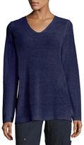 Eileen Fisher Long-Sleeve Organic Linen V-Neck Top