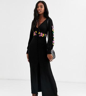 Asos DESIGN Tall long sleeve maxi embroidered tea dress
