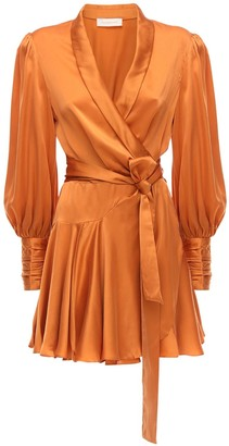 Zimmermann Silk Satin Wrap Mini Dress