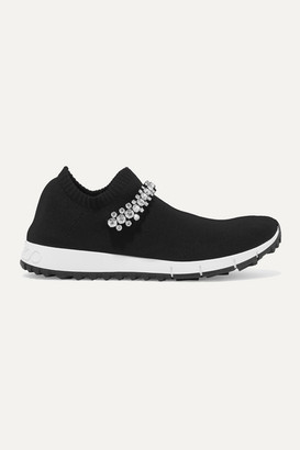 Jimmy Choo Verona Crystal-embellished Stretch-knit Sneakers - Black