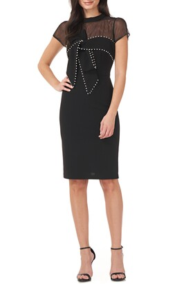 JS Collections Imitation Pearl Detail Illusion Lace Yoke Sheath Cocktail Dress