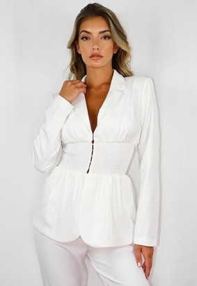 Missguided White Co Ord Shirred Waist Blazer