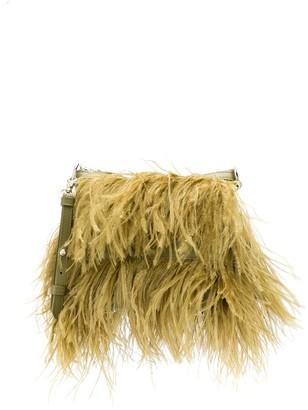 Marques Almeida Feather-Embellished Shoulder Bag