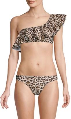 Mouille Leopard-Print Ruffled Bikini Top