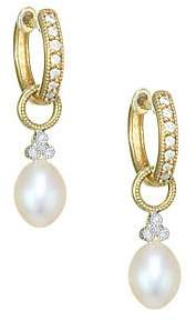 Jude Frances Women's Provence Pearl, Diamond & 18K Yellow Gold Champagne Briolette Earring Charms