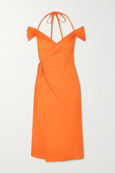 Thumbnail for your product : IOANNES Romeo Cold-shoulder Cotton Halterneck Wrap Dress - Orange