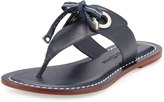 Bernardo Mackenzie Leather Thong Sandal, Navy