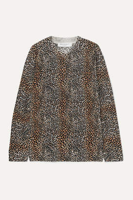 Equipment Raydon Leopard-print Wool Sweater - Brown