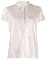 Majestic Filatures metallic marl linen blend polo shirt