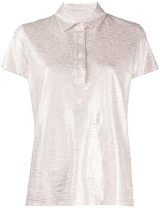 Majestic Filatures metallic marl linen blend polo shirt