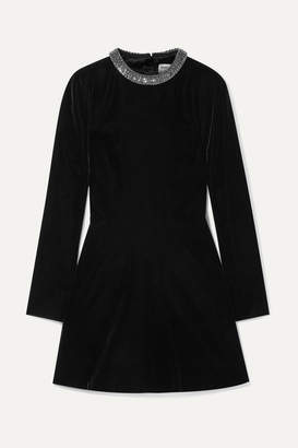 Saint Laurent Cutout Embellished Velvet Mini Dress - Black