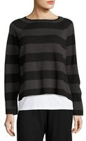 Eileen Fisher Striped Cropped Long-Sleeve Top, Black/Charcoal, Plus Size