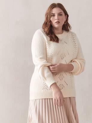 Balloon-Sleeve Pointelle Sweater - Addition Elle