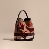 Burberry The Medium Ashby in Canvas Check with Sequinned Hearts