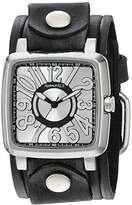 Nemesis Women's 218VEB-S Silver 3D Squared Series Black Embossed Stripes Leather Cuff Band Analog Display Japanese Quartz Black Watch