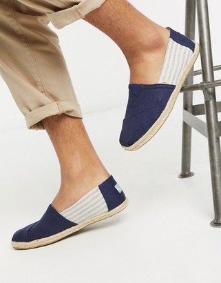 Toms espadrilles in navy stripe linen with rope detail