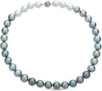 BELPEARL 14k White Gold Rainbow Tahitian & South Sea Pearl Necklace, 12-13mm