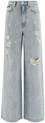 Dolce & Gabbana Distressed Wide Leg Jeans