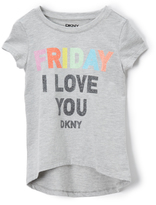 DKNY Heather Gray 'Friday I Love You' Hi-Low Top - Toddler & Girls