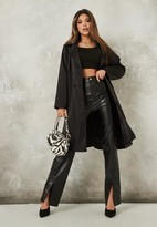 Missguided Petite Black Satin Belted Duster Jacket