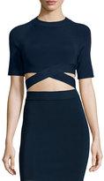 Alexander Wang Criss-Cross Short-Sleeve Crop Top, Midnight