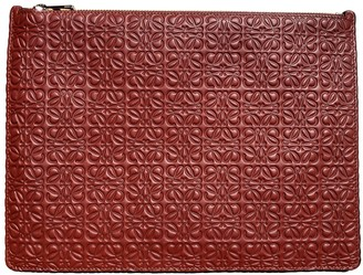 Loewe T Pouch Burgundy Leather Clutch bags