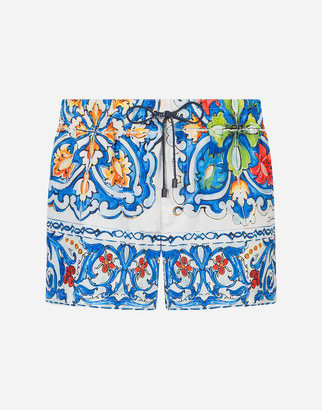 Dolce & Gabbana Short Printed Swimming Trunks With Pouch