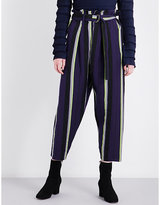 Issey Miyake Striped linen-blend trousers
