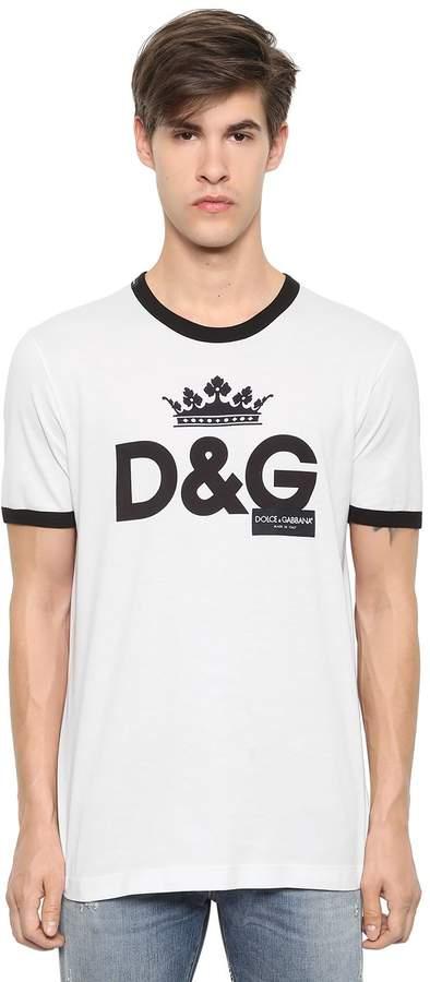 Dolce & Gabbana Crown Logo Print Cotton Jersey T-Shirt