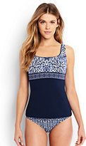 Lands' End Women's Petite Underwire Squareneck Tankini Top-Deep Sea Mixed Medallion