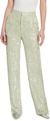 Sally LaPointe Sequined Viscose High-Waist Trousers