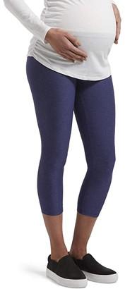 Hue Under Belly Soft Knit Maternity Capris (Black Space Dye) Women's Casual Pants