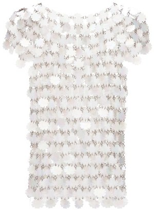 Paco Rabanne Sequinned Chainmail Top - White