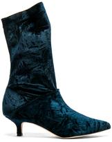 Tibi Harper Velvet Boots in Blue.